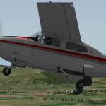 A Cessna 210M retracting the landing gear