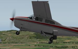 A Cessna 210M retracting the landing gear