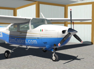 Cessna 210 sitting in the hangar